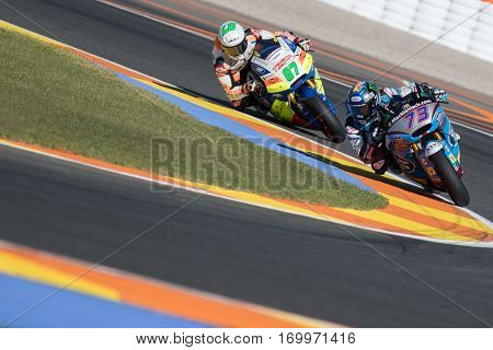 VALENCIA, SPAIN - NOV 11: 73 Alex Marquez, 87 Gardner during Motogp Grand Prix of the Comunidad Valencia on November 11, 2016 in Valencia, Spain.