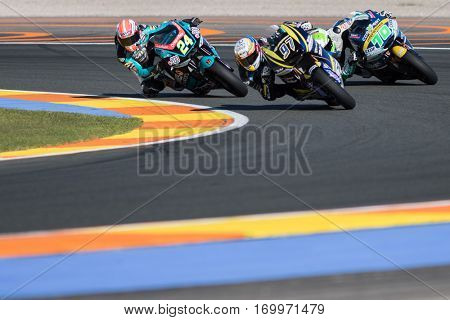 VALENCIA, SPAIN - NOV 11: 24 Corsi, 97 Vierge, 70 Mulhauser during Motogp Grand Prix of the Comunidad Valencia on November 11, 2016 in Valencia, Spain.