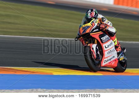 VALENCIA, SPAIN - NOV 11: Baldassarri during Motogp Grand Prix of the Comunidad Valencia on November 11, 2016 in Valencia, Spain.