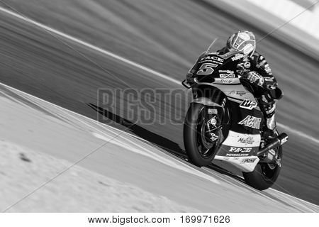 VALENCIA, SPAIN - NOV 11: Johann Zarco during Motogp Grand Prix of the Comunidad Valencia on November 11, 2016 in Valencia, Spain.