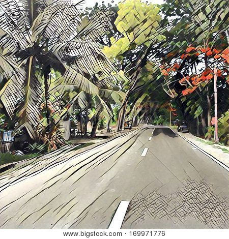Digital illustration of empty road in the tropical forest. Moving straight to summer vacation on the beach. Red and yellow tree on roadside. Hatching sketch of a highway speedy drive. Square image