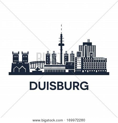 Abstract skyline of city Duisburg in Germany, vector illustration