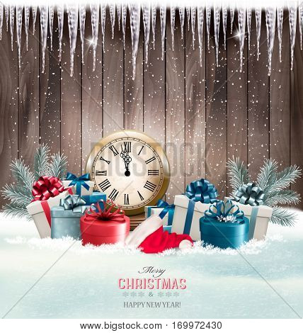 Winter background with presents and clock. .