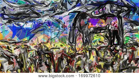 Abstract painting. Horse in the field.