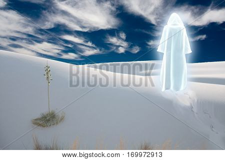 Figure in shining cloak stands at the desert  3D Render