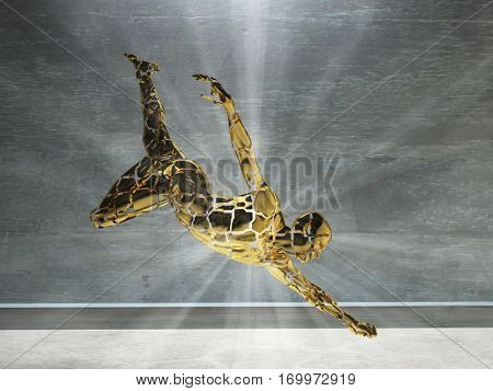 3D render. Men's figure made of gold with light rays.  3D Render
