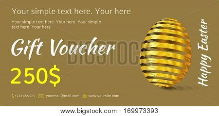 Holiday gift voucher. Easter coupon sales. Flyer olive or khaki colors with golden Easter egg. Attractive discount for 250 dollars. Template A5 width.