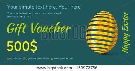 Holiday gift voucher. Easter coupon sales. Flyer dark turquoise color with golden Easter egg. Attractive discount for 500 dollars. Template A5 width.