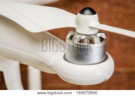 Close-up of electric motor and propeller of a quadcopter drone