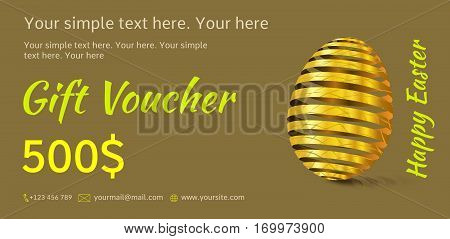 Holiday gift voucher. Easter coupon sales. Flyer green or olive color with golden Easter egg. Attractive discount for 500 dollars. Template A5 width.