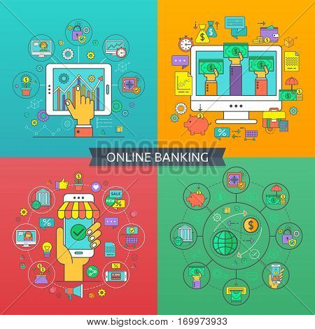 Concept of online banking. Flat line icons for banking finance online payment savings internet payment security online banking for websites and application.