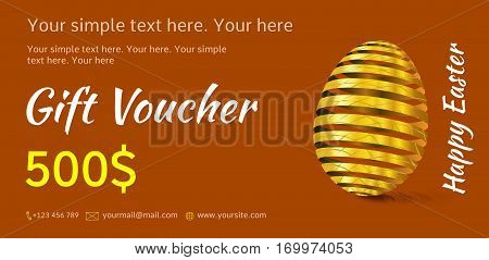 Holiday gift voucher. Bright Easter coupon sales. Festive illustration of red or terracotta color with golden Easter egg. Attractive discount for 500 dollars.