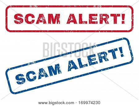 Scam Alert exclamation text rubber seal stamp watermarks. Vector style is blue and red ink tag inside rounded rectangular banner. Grunge design and dirty texture. Blue and red emblems.