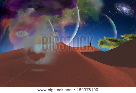 Lonely man in desert   3D Render  Some elements provided courtesy of NASA