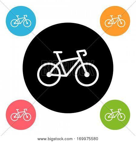 Round bike icon isolated on white