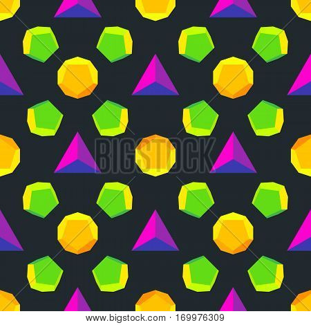 Vector Colored Polyhedrons Seamless Pattern.