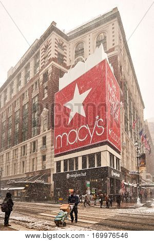Macy's Herald Square in snow storm Niko on February 9th, 2017.