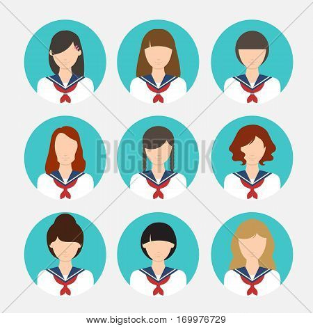 Avatar female japanese student - asian uniform school girl people education flat vector stock