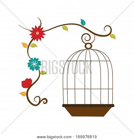 cage with cute flower decorative icon vector illustration design