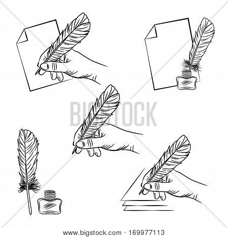 Vector Set Of Five Illustrations With Hand Holding Feather Pen,