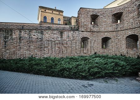 Fragment of brick medieval fortifications in Poznan