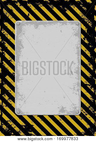 warnning sign with grunge plate - vector illustration