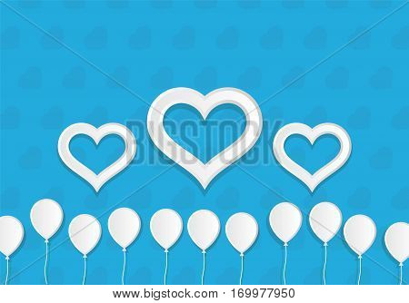 White Paper Style Ballons and Hearts. Greeting Card vector Template