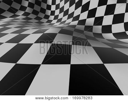 Checkered texture background 3D illustration