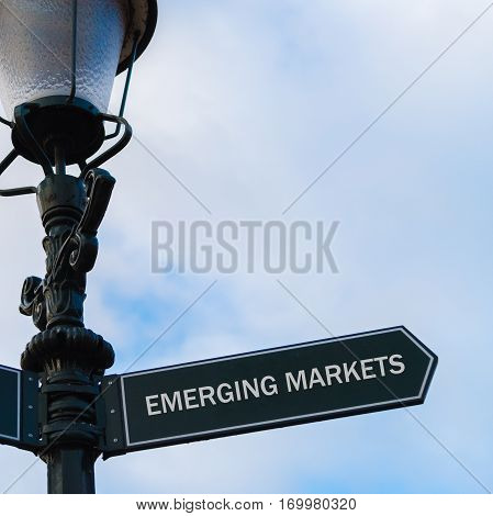 Emerging Markets Directional Sign On Guidepost