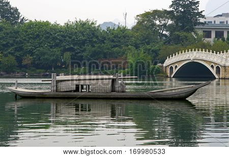 Old Chinese Boat At The Lake Of Guilin