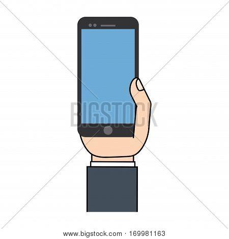 black mobile phone in hand communication vector illustration eps 10