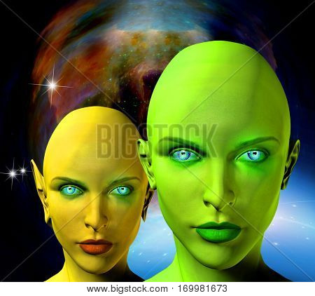 Two female aliens faces with deep space on a background.    3D Render  Some elements provided courtesy of NASA