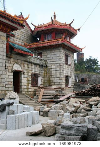 Reconstruction of Buddhist temple on top of Heng Mountains Hunan province China