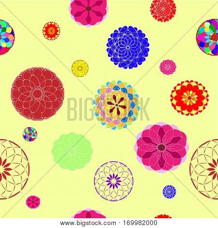 Balls with colorful designs on the delicate yellow background