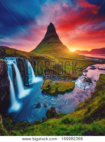 Kirkjufell volcano the coast of Snaefellsnes peninsula. Picturesque and gorgeous morning scene. Popular tourist attraction. Location famous Kirkjufellsfoss waterfall, Iceland, Europe. Beauty world.