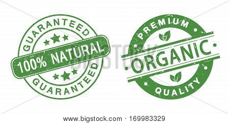 grunge organic stamps on the white background (vector illustration)