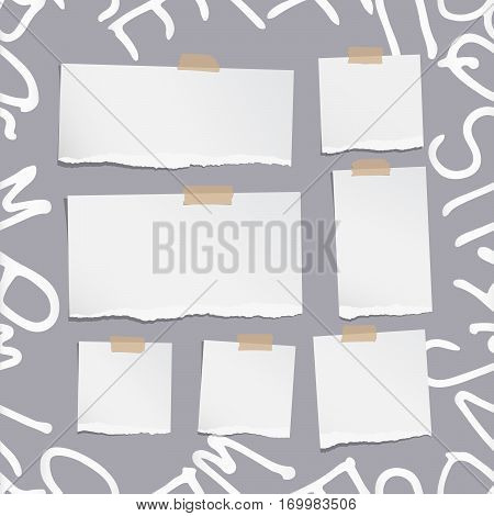 Ripped white note, notebook, copybook paper sheets on pattern created of alphabet letters.