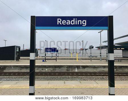 READING - DECEMBER 18: Platform sign at Reading Train Station on December 18, 2016 in Reading, Berkshire, UK.