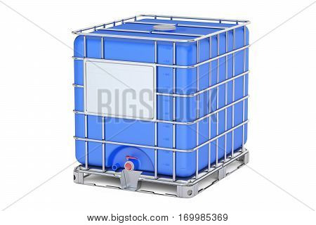 Blue intermediate bulk container closeup 3D rendering isolated on white background