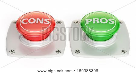 cons and pros push button 3D rendering isolated on white background
