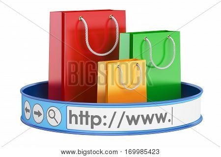 e-shopping online shopping concept. 3D rendering isolated on white background