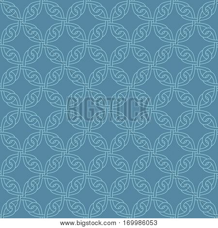 Neutral Seamless Linear Pattern. Tileable Geometric Outline Ornate. Celtic Knotwork Vector Background in Niagara color.