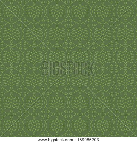 Neutral Seamless Linear Pattern. Tileable Geometric Outline Ornate. Vintage Flourish Vector Background. Kale color.