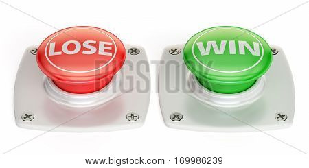 lose and win push button 3D rendering isolated on white background