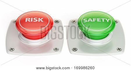 risk and safety push button 3D rendering isolated on white background