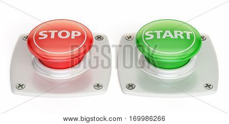 start and stop push button 3D rendering isolated on white background