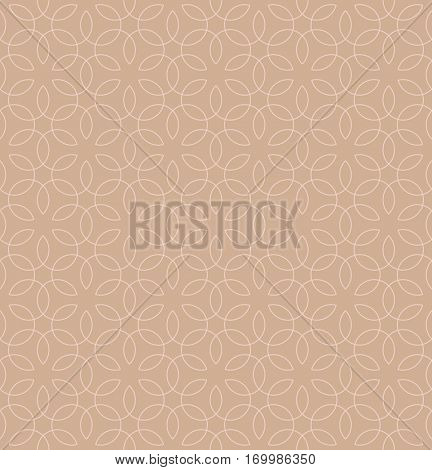 Neutral Seamless Linear Pattern. Tileable Geometric Outline Ornate. Vintage Flourish Vector Background. Pale dogwood color.