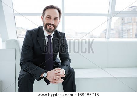 Elderly bearded business man sitting on sofa near the window in office and looking at camera