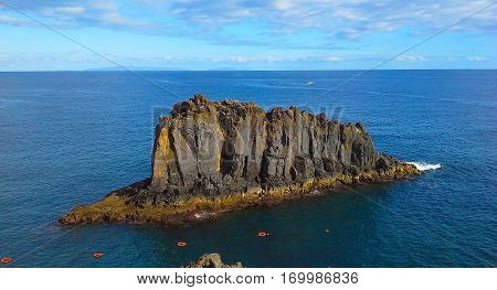 The rock in the ocean Madeira Funchal Portugal