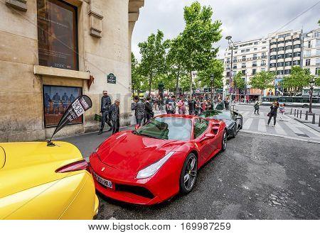 Paris, France - June 2016: Ferrari test drive event  at Champs Elysees